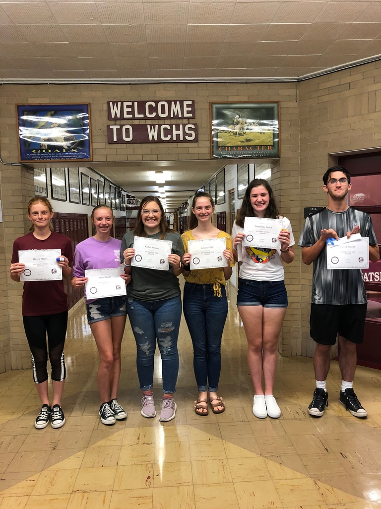 Congratulations WCHS September Students of the Month!