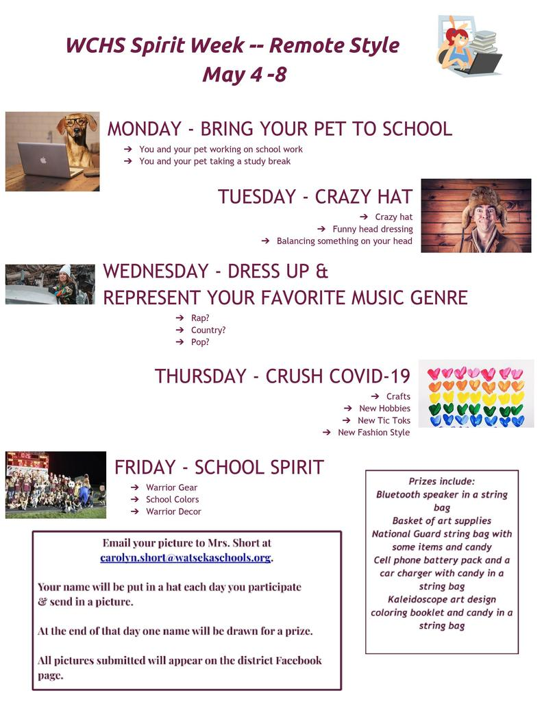 WCHS Spirit Week - Remote Style